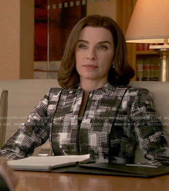 Alicia's black and white checked print jacket on The Good Wife