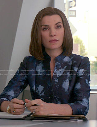 Alicia's blue painted print jacket on The Good Wife