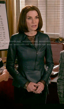 Alicia's dark blue leather peplum jacket on The Good Wife