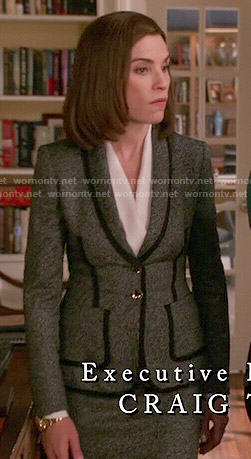 Alicia's grey blazer with black trim on The Good Wife