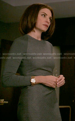 Alicia's grey long sleeved dress on The Good Wife