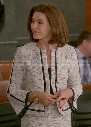 Alicia's tweed jacket with flared sleeves on The Good Wife