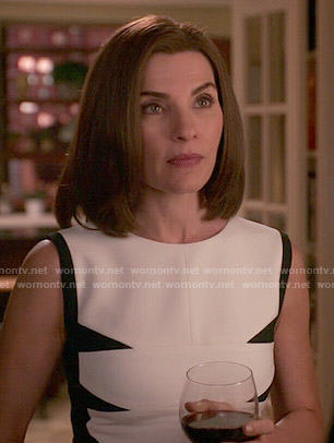 Alicia's white dress with black triangles on The Good Wife