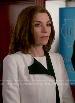 Alicia's white jacket with black trim on The Good Wife