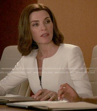 Alicia's white zip-front peplum jacket on The Good Wife