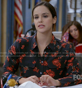 Amy's black and red floral blouse on Brooklyn Nine-Nine