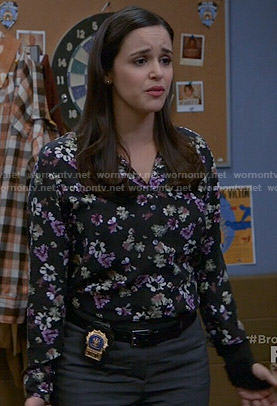 Amy's black floral blouse on Brooklyn Nine-Nine