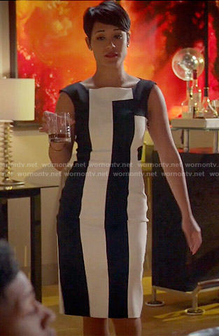 Anika's black and white colorblock dress on Empire
