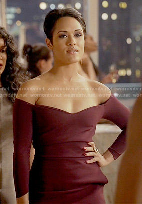 Anika's burgundy off-shoulder dress on Empire