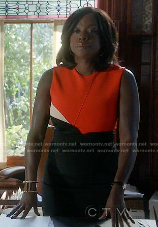 Annalise's orange and black colorblock dress on How to Get Away with Murder