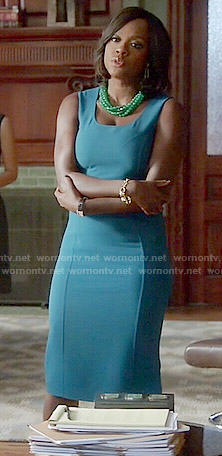 Annalise's teal blue dress on How to Get Away with Murder