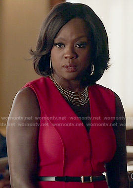Annalise's red sleeveless wrap dress on How to Get Away with Murder