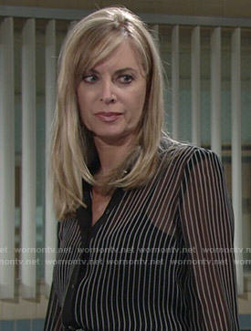 Ashley's sheer black striped blouse on The Young and the Restless