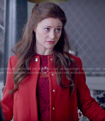 Belle's red jacket and lace dress on Once Upon a Time