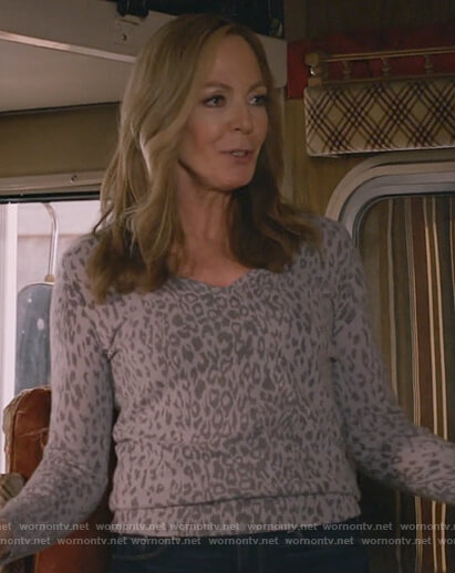 Bonnie's grey leopard print sweater on Mom