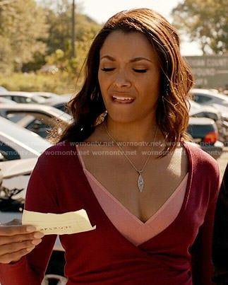 Bonnie's red wrap top on The Vampire Diaries