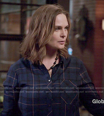 Brennan's blue plaid shirt on Bones