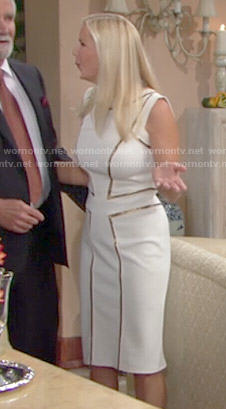 Brooke's white Thanksgiving dress with gold trim on The Bold and the Beautiful