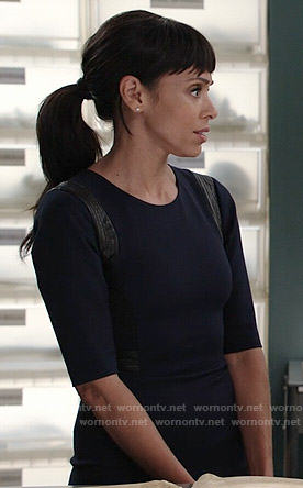 Camille's navy dress with leather trim on Bones