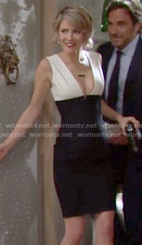 Caroline's black and white v-neck Thanksgiving dress on The Bold and the Beautiful