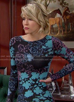Caroline's blue and pink floral long sleeved dress on The Bold and the Beautiful