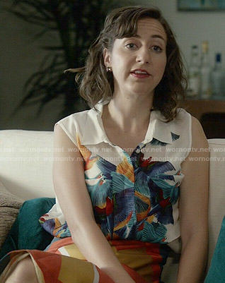 Carol's sleeveless bird print top on Last Man on Earth