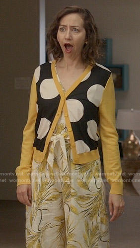 Carol's yellow polka dot cardigan and printed jumpsuit on Last Man on Earth