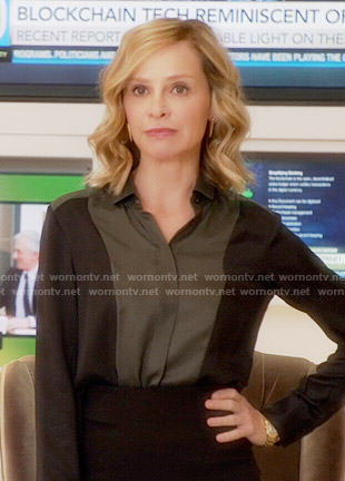 Cat's black and olive colorblock blouse on Supergirl