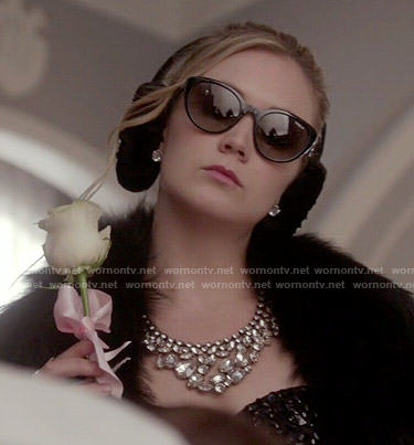 Chanel 3's black embellished crop to and  bib necklace on Scream Queens