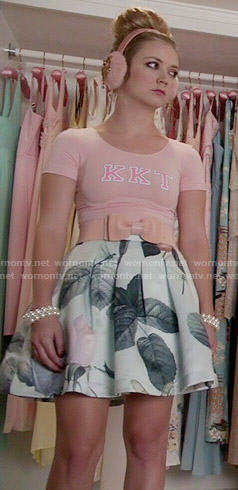 Chanel 3's mint rose print skirt and pink KKT top on Scream Queens