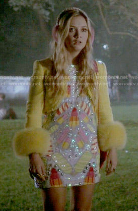 Chanel 3's popsicle embellished dress and yellow tweed jacket on Scream Queens