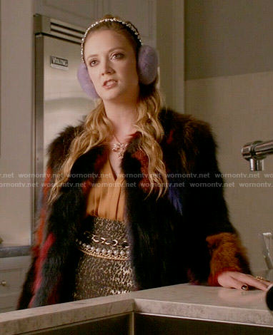 Chanel 3's yellow pleated blouse and metallic leopard print skirt on Scream Queens