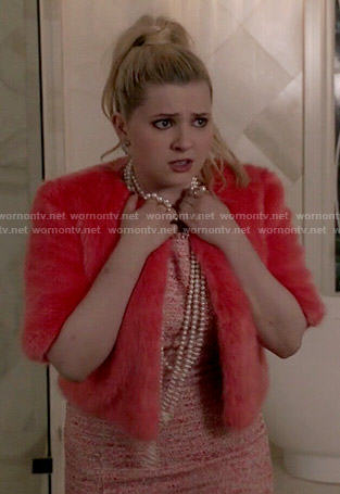 Chanel 5's coral fur jacket on Scream Queens