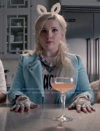 Chanel 5's Francais tee and blue jacket on Scream Queens