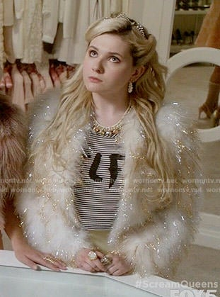 Chanel 5's SELFIE top and gold and white fur jacket on Scream Queens