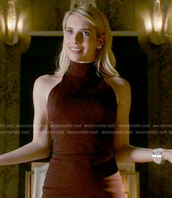 Chanel's burgundy mock-neck dress dress on Scream Queens