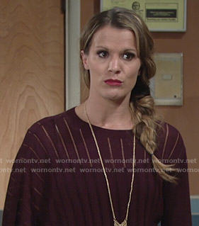 Chelsea's burgundy poncho sweater on The Young and the Restless