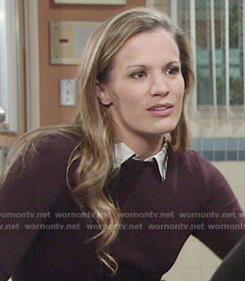 Chelsea's burgundy sweater and plaid shirt combo on The Young and the Restless