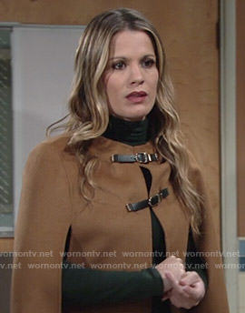 Chelsea's tan buckled cape on The Young and the Restless