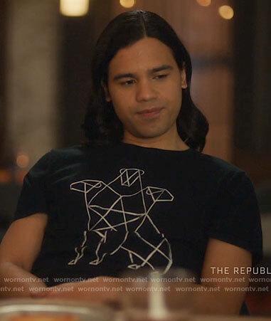 Cisco's black Cerberus print t-shirt on The Flash