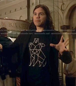 Cisco's black Cerberus print t-shirt on The Flash