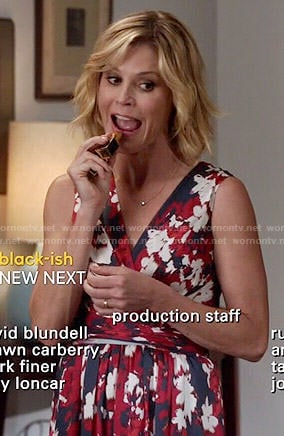 Claire's red and navy floral wrap dress on Modern Family