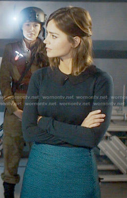Clara's blue dotted skirt on Doctor Who