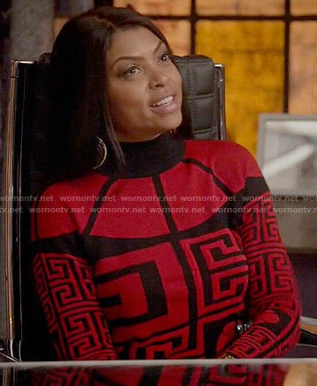 Cookie's red geometric print sweater on Empire
