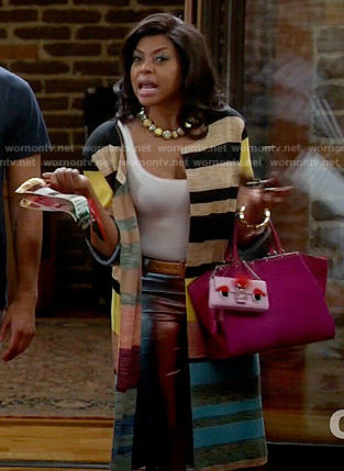 Cookie's long striped cardigan and pink monster bag on Empire