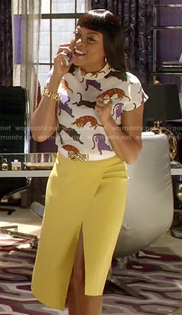 Cookie's tiger printed top and yellow wrap skirt on Empire