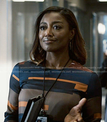 Daisy's geometric print shift dress on Madam Secretary