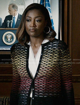 Daisy's rainbow ombre cardigan on Madam Secretary