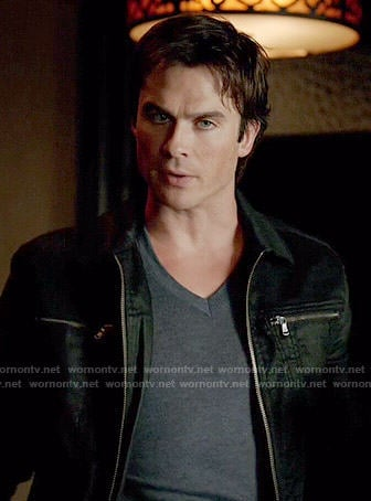 Damon's black jacket with zip pockets on The Vampire Diaries