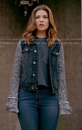 Davina's black denim jacket with grey knit sleeves on The Originals